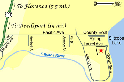 Map to Siltcoos Lake Cabin Rentals