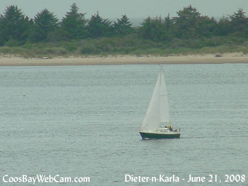 Dieter and Karla sailing in Coos Bay, Oregon